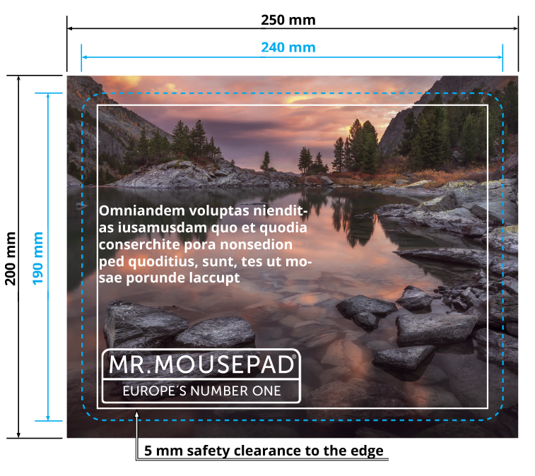 print template apply correctly 240 190 mm basic mousepad